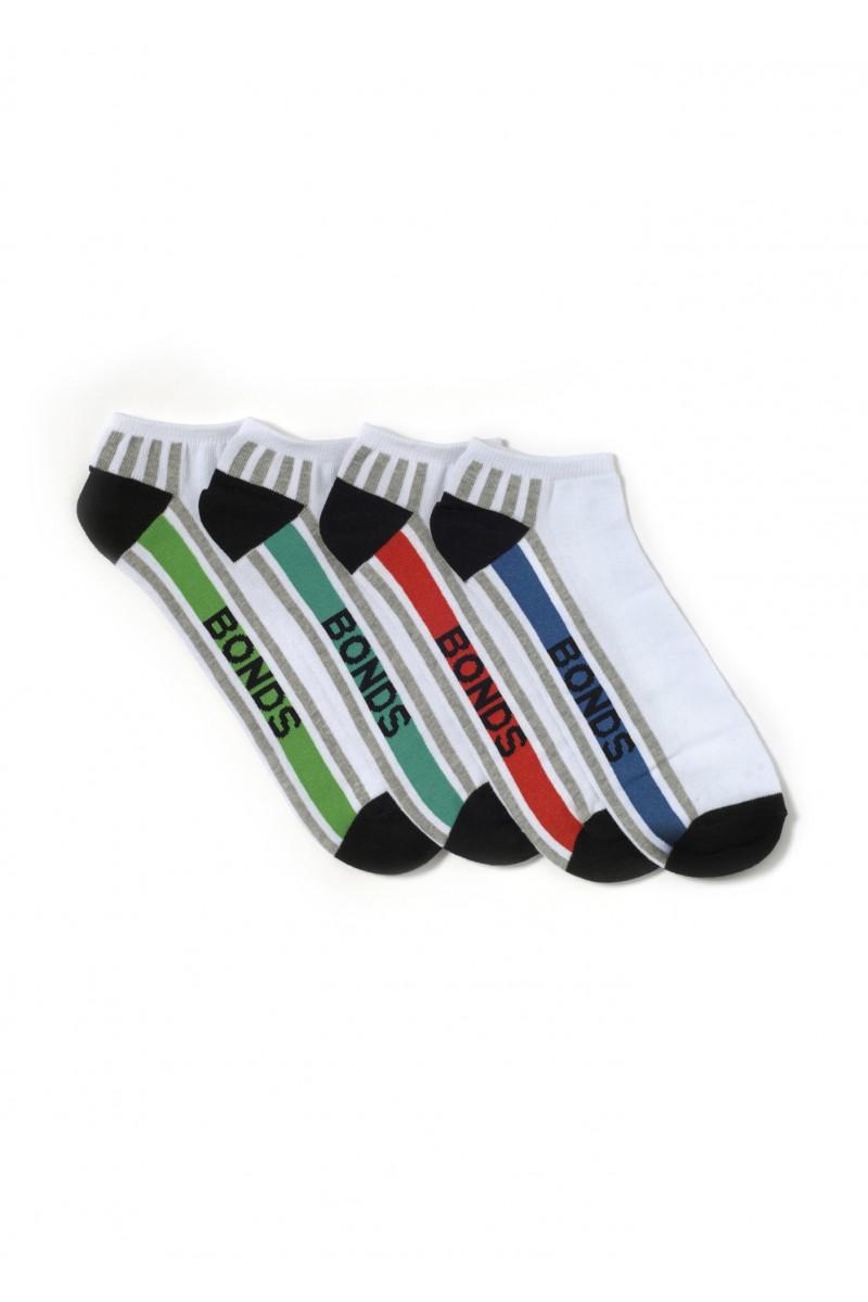 Bonds Mens Stripe Trainer Socks 4-Pack S8637D White