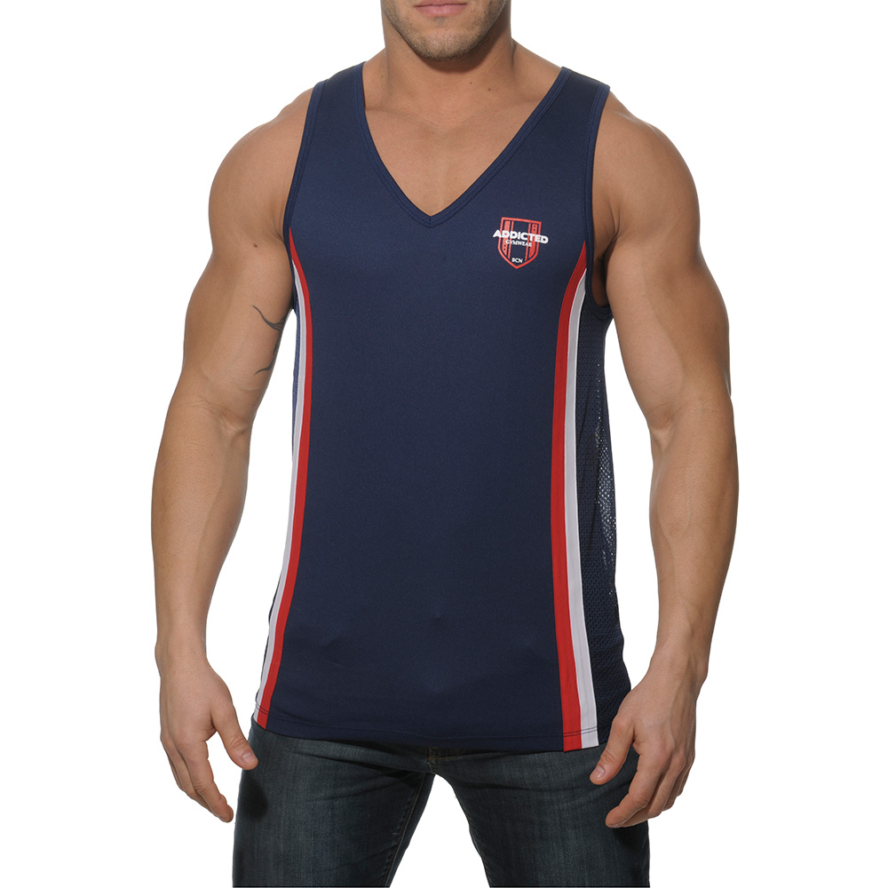 Addicted Loose Fitting V Neck Tank Top AD173 Navy
