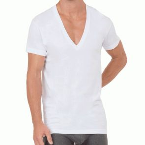 2xist Slim Fit Deep V-Neck T-Shirt 3-Pack 20351 White