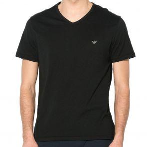 Emporio Armani Cotton V-Neck T-Shirt 111028 7A722 Black