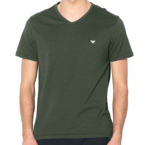 Emporio Armani Cotton V-Neck T-Shirt 111028 7A722 Military