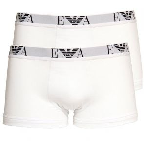 Emporio Armani Cotton Stretch Boxer Trunk 2 Pack 111210 White