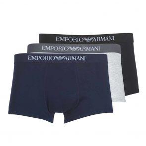 Emporio Armani Cotton Trunk 3-Pack 111610 CC722 Marine/Grey/Black
