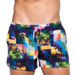 ES Collection Forest Glitch Bermuda Swim Short 1823 Navy