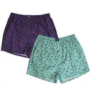 Coast Woven Spot 2 Pack Boxer 18CCU503 Green/Red