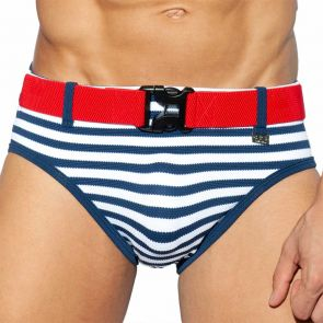 ES Collection Belt Pique Swim Brief 2024 Navy Sailor