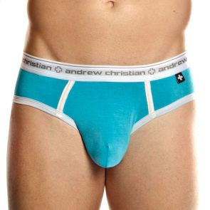 Andrew Christian Almost Naked Sports Brief 9199 Aqua/White - Autographed by Topher