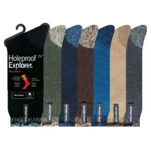 Holeproof Explorer Mens Wool Blend Young Marle Socks Denim S1140