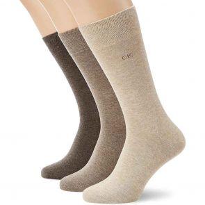 Calvin Klein Mens Flat Knit Crew Socks 3-Pack E91219 Taupe/Wheat/Brown