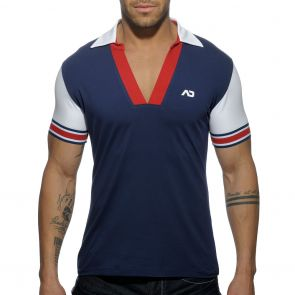 Addicted Sleeve Contrasted Polo AD526 Navy