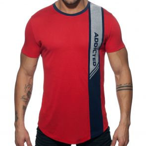 Addicted Vertical Stripe T-Shirt AD779 Red