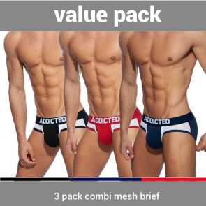 Addicted Combi Mesh 3 Pack Brief AD845P Black/Navy/Red