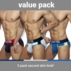 Addicted Second Skin 3 Pack Brief AD897P Navy/White/Royal Blue