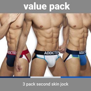 Addicted Second Skin 3 Pack Jockstrap AD899P Navy/White/Royal Blue