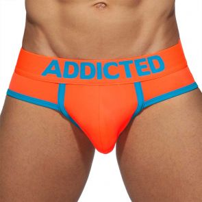 Addicted Neon RingUp Swimderwear Swim Brief AD917 Neon Orange