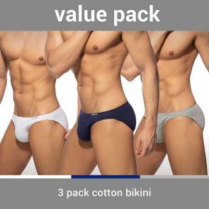 Addicted Cotton 3 Pack Bikini Brief AD984P White/Navy/Heather Grey