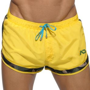 Addicted Camouflage Detail Rocky Swim Short ADS121 Yellow