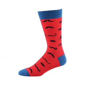 Bamboozld Mens Ditsy Moustache Sock BBS14MOU Scarlet
