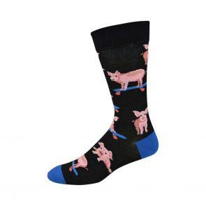 Bamboozld Mens Skater Pig Sock BBS19SKATERPIG Black