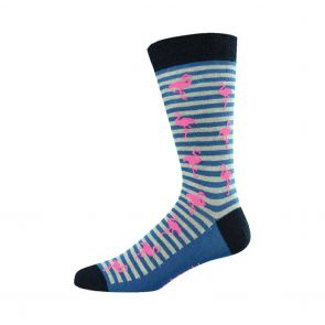 Bamboozld Mens Flamingo Stripe Sock BBW15FLAM Grey
