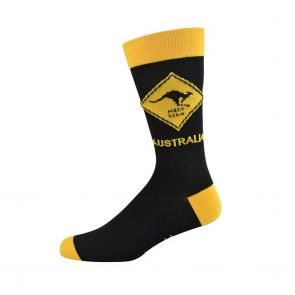 Bamboozld Mens Kangaroo Road Sign Sock BBW18RSROO Black/Yellow