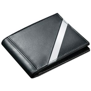 Stewart Stand Stainless Steel Leather Tech Bifold Wallet BF5002 Black