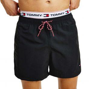Tommy Hilfiger Logo Tape Mid Length Swim Shorts UM0UM02043 Black