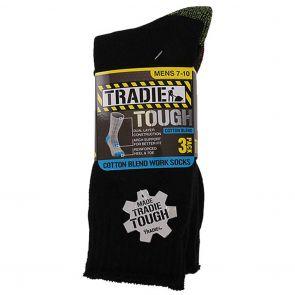 Tradie Cotton Blend Work Socks 3-Pack M22549SJ Black