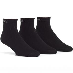 Calvin Klein Mens Hayden Athletic Quarter Crew Socks 3-Pack E93007 Black