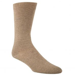 Calvin Klein Combed Cotton Flat Knit Crew Socks ECB212 Taupe Heather