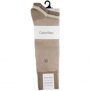 Calvin Klein Barclay Birdseye Crew Socks 3 Pack ECC173 Charcoal Taupe/String