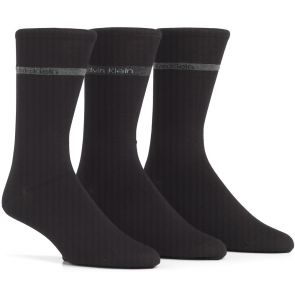 Calvin Klein Mens Adam Logo Banded Dress Socks 3-Pack ECK177 Black