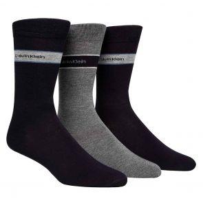 Calvin Klein Mens Adam Logo Banded Dress Socks 3-Pack ECK177 Multi
