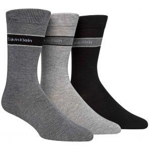 Calvin Klein Mens Bamboo Blend Logo Socks 3-Pack ECK177 Charcoal/Grey/Black