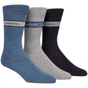 Calvin Klein Mens Bamboo Blend Logo Socks 3-Pack ECK177 Denim/Grey/Navy
