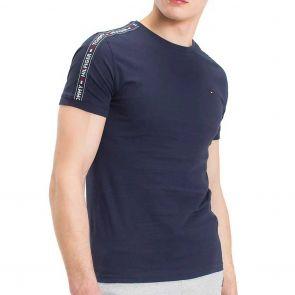 Tommy Hilfiger Mens Logo Tape T-shirt UM0UM00562 Navy