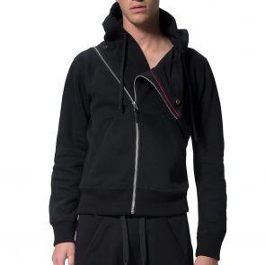 LEVEL Sam Asymmetrical Cropped Yoga Hoodie L1818 Black
