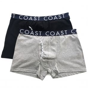 Coast Joe Long Boxer Trunk 2-Pack Black/Grey