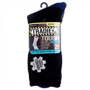 Tradie Mens 2PK Cotton Socks M21608WW Black Assorted