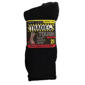 Tradie Wool Blend Work Socks 2-Pack M22546SJ Black