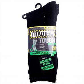 Tradie Mens 2PK Bamboo Sock M22559BW Black