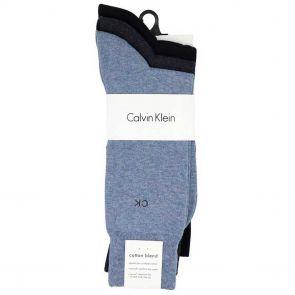 Calvin Klein Mens Flat Knit Crew Socks 3-Pack E91219 Stonewash/ Denim Heather/Navy