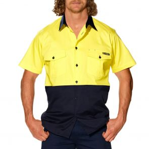 Tradie Mens Flex Hi Vis Short Sleeve Shirt MJ1939ST Yellow/Navy
