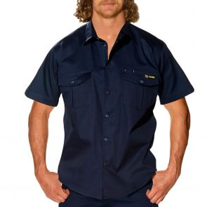 Tradie Mens Flex Short Sleeve Drill Shirt MJ1946ST Navy