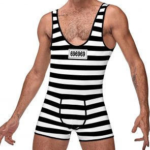 Male Power Hard Time Prison Costume MPC-008 Black/White