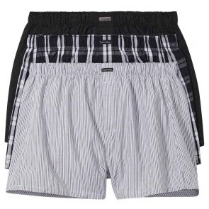 Calvin Klein Cotton Classics 3 Pack Woven Boxers NB4006 Black/Black Plaid/Black Stripe