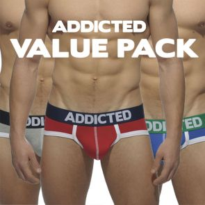 Addicted Three Pack Basic Brief AD301P Red/Grey/Royal Blue