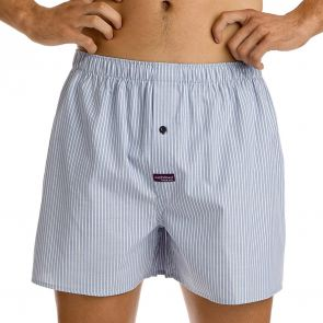 Mitch Dowd Mini Pin Stripe Yarn Dyed Boxer Q1897 Light Navy/White