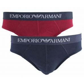 Emporio Armani Stretch Cotton 2 Pack Briefs 111321 6A722 Red/Navy
