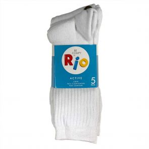 Rio Sports Crew 5 Pack Sock S7266W White